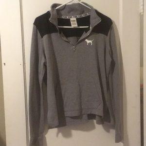 Grey Victoria's Secret Pink Quarter Zip Sweatshirt